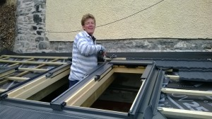 Amy getting the Velux in